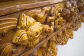 Glazed tile traditional Thai art of church in temple — Stock Photo
