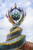 Naga's tails sculpture was decorated with glazed tile in front o — Stock Photo