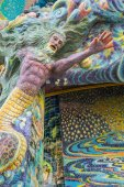Mermaid sculpture was decorated with glazed tile — Stock Photo