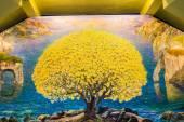 Watercolor art of tree on sanctuary wall — Stock Photo