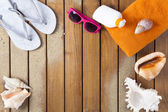 Beach scene with wood decking — Stock Photo