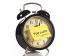 Alarm Clock with a note — Stock Photo