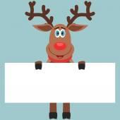 Reindeer holding paper — Stock Vector