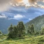 ������, ������: Pass Falzarego at sunrise stormy sky Dolomites Veneto Italy