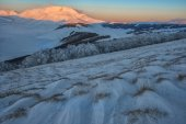 Mount Vettore at sunset, winter day with snow, Sibillini mountai — Stock Photo