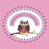 Cute card with owl — Stock Vector