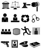Law and police icons — Stock Vector