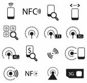 Mobile phone network icons — Stock Vector