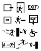 Exit sign icons set — Stock Vector