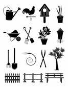 Conjunto de iconos de jardín — Vector de stock