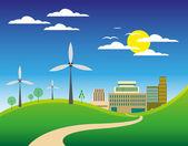 Eco friendly city landscape — Vettoriale Stock
