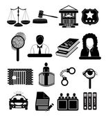 Law and police icons — Vector de stock