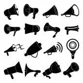 Megaphone speaker icons set — Stock Vector