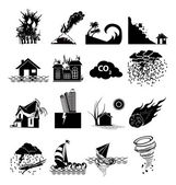 Natural disaster icons set — Stock Vector