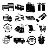 Online shopping delivery icons — Vettoriale Stock