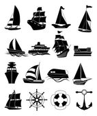 SeaTransportation ship icons set — Stock Vector