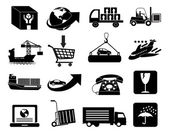 Warehouse logistics packaging icons set — Stock Vector