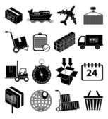 Warehouse logistics packaging icons set — Vetorial Stock