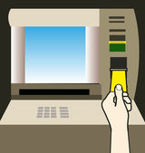 Hand and Atm Machine — Stock Vector
