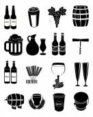 Wine beer making icons set — Stock Vector