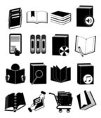 Books library icons set — Stock Vector