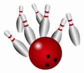 Bowling ball crashing into the pins — ストックベクタ