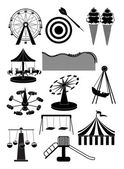 Carnival amusement park icons set — Stock Vector