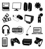 Computer input output devices icons set — Stock Vector