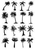 Palm trees icons set — Vector de stock