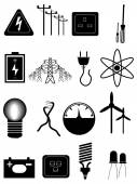 Power energy Icons Set — Stock Vector