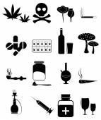 Harmful Drugs Icons Set — Stock Vector
