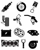 Vehicle Parts icons set — Stock Vector