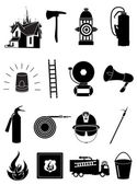 Fire Fighter Icons set — Stock Vector