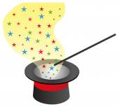 Magic hat and wand with sparkles. — Stock Vector
