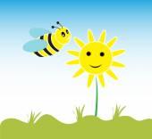 Cute card with fun bee — Stock Vector