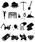 Mines icons set — Stock Vector
