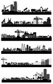 Industrial building sites icons — Stock Vector