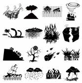 Natural disaster icons — Stock Vector
