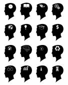 Head brain vector icons set — Stock Vector