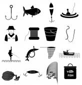 Fishing icons in single color — Stock Vector