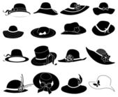 Ladies hat icons set — Stockvektor