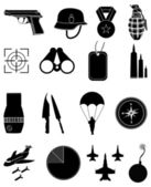 Military army icons set — Stock Vector