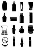 Cosmetic containers icons set — Stock Vector