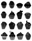 Cupcake icons set — Stock Vector