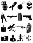 Terrorist icons set — Stock Vector