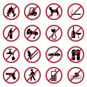 Prohibited icons set — Stock Vector