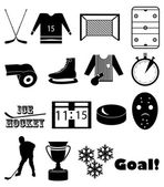 Ice hockey icons set — Stock Vector