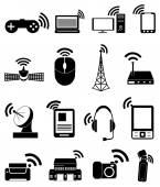 Wireless network icons set — Stock Vector