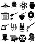 Bees icons set — Vettoriale Stock