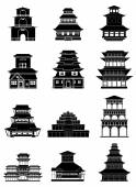 Chinese japanese building icons set — Stock Vector